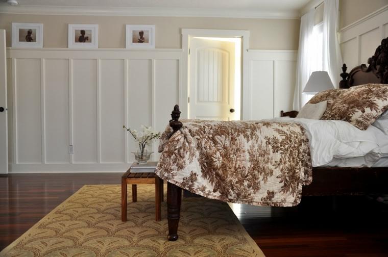 dormitorios rusticos cama madera negra alfombra diseno idea
