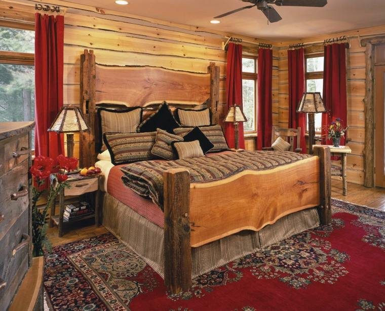 dormitorios rusticos cama madera rustica paneles madera pared ideas