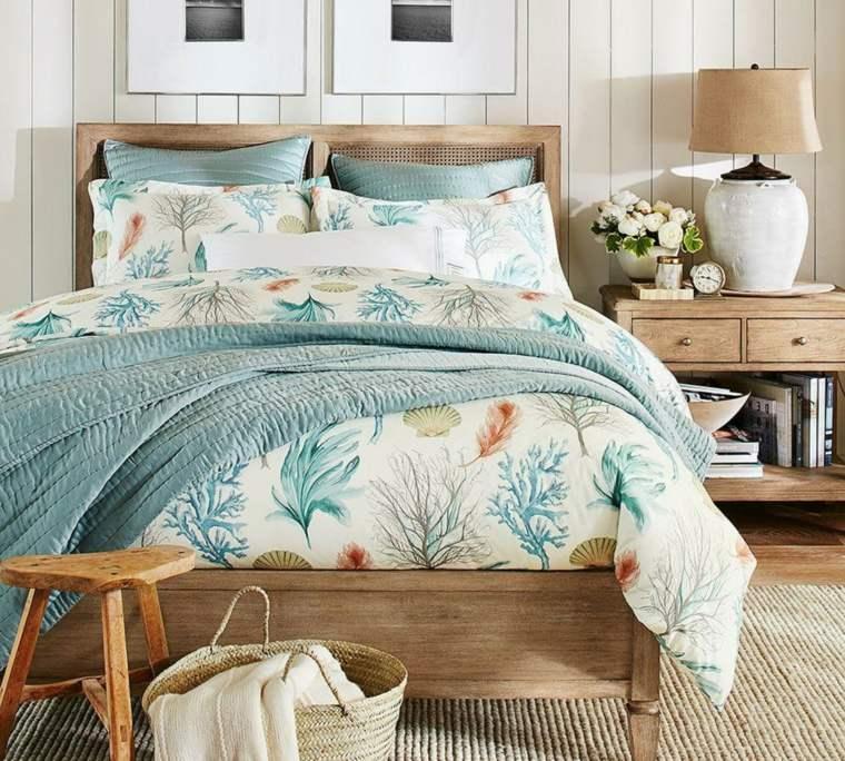 dormitorios rusticos cama mesita noche madera natural ideas