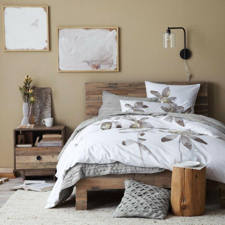 dormitorios rusticos cama mesita noche pared beige ideas