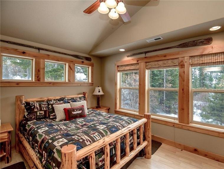 dormitorios rusticos cama troncos madera bella ideas