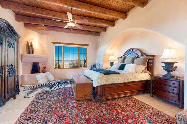dormitorios rusticos diseno alfombras chimenea opciones ideas