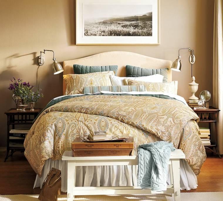 dormitorios rusticos diseno cama banco madera ideas