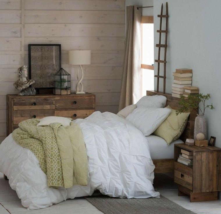 dormitorios rusticos pared cama madera diseno ideas