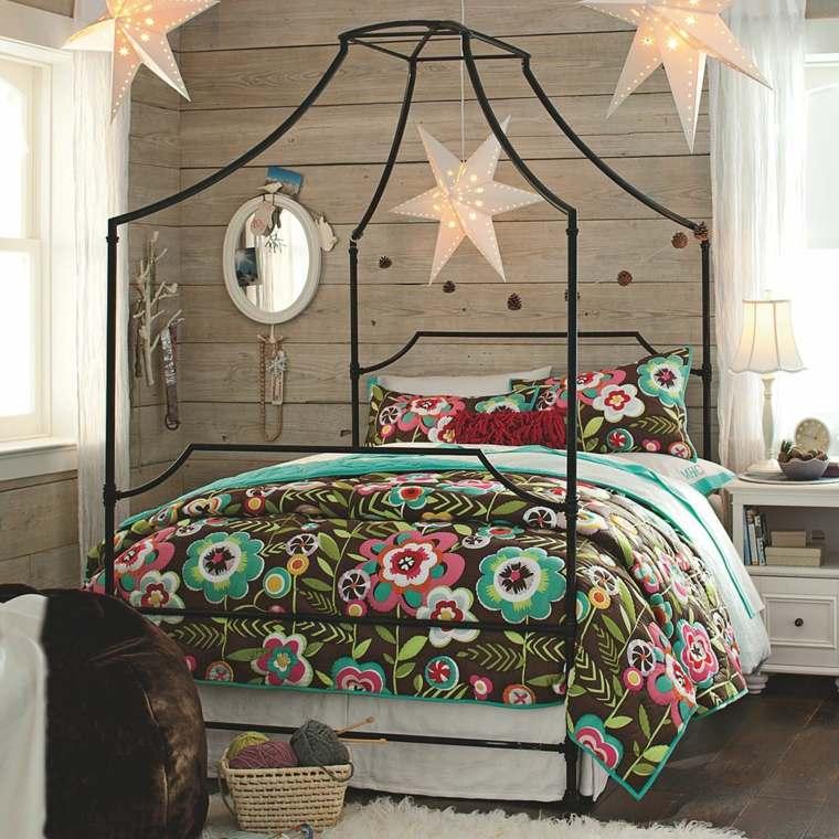 dormitorios rusticos pared madera cama dosel acero ideas