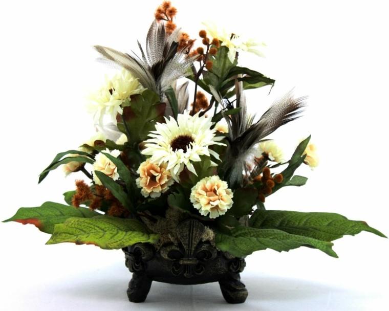 decorar con flores artificiales jarrones