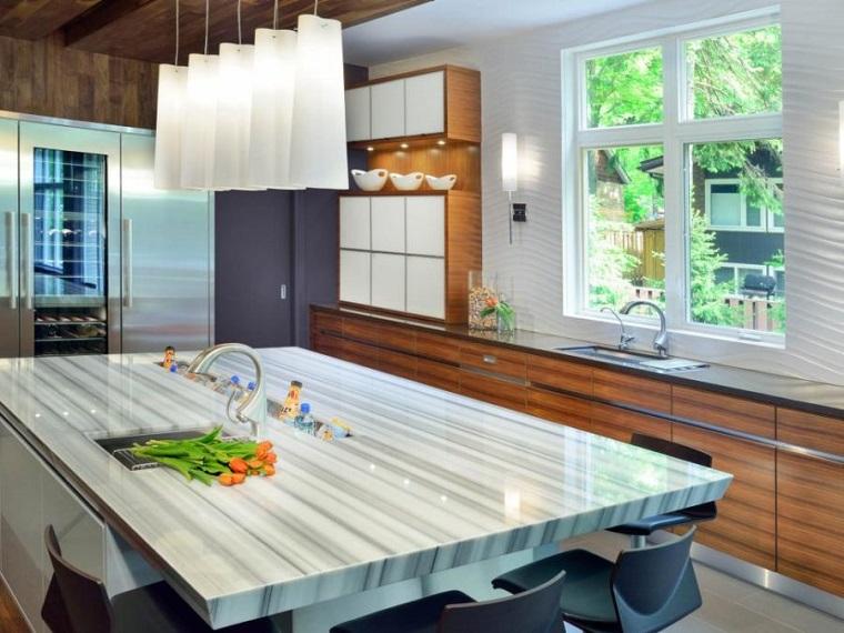 encimera isla cocina marmol moderno ideas