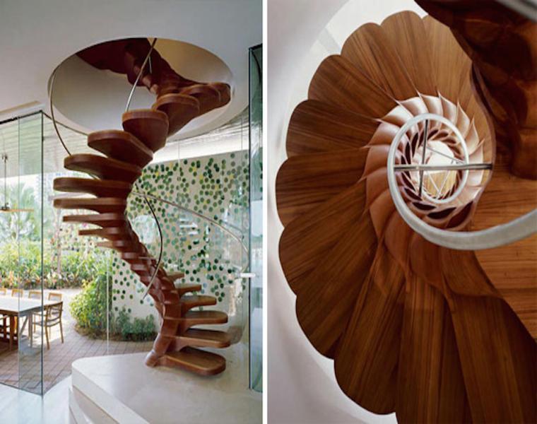 escalera caracol bonito diseno madera