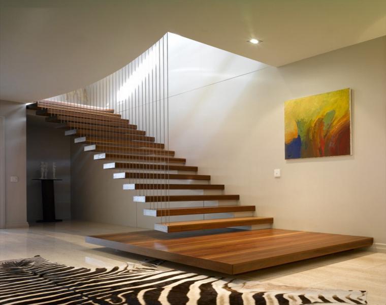Escaleras modernas descubre los dise os m s inusuales - Escaleras con peldanos de madera ...