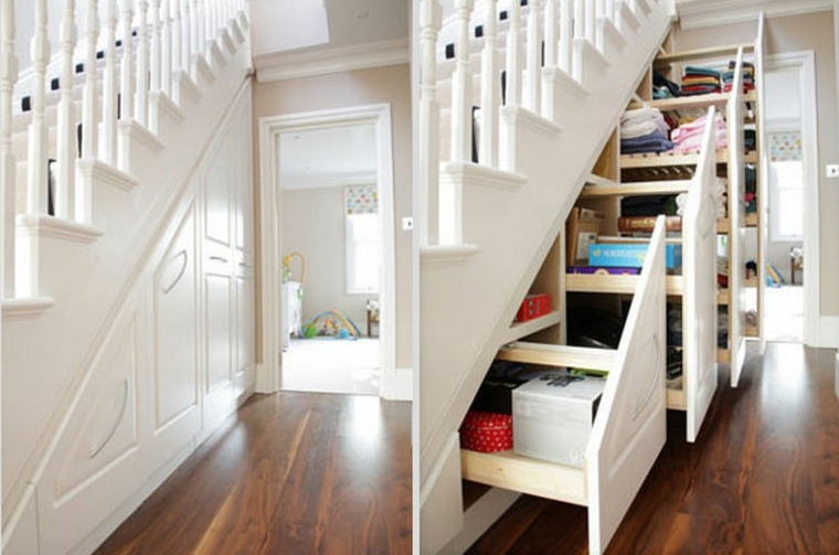 escaleras interior espacio almacenamiento cajones