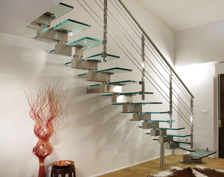 escalera moderna peldaos vidrio