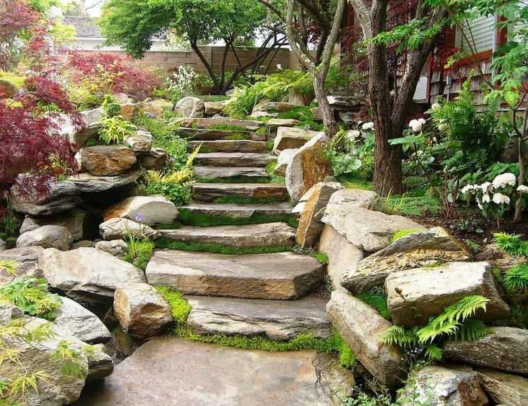 escaleras piedra jardin japones