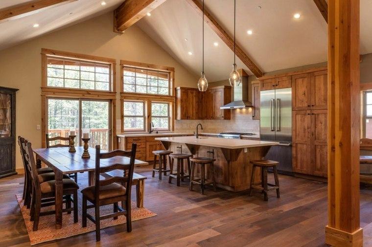 espacios amplios cocina comedor rustico ideas