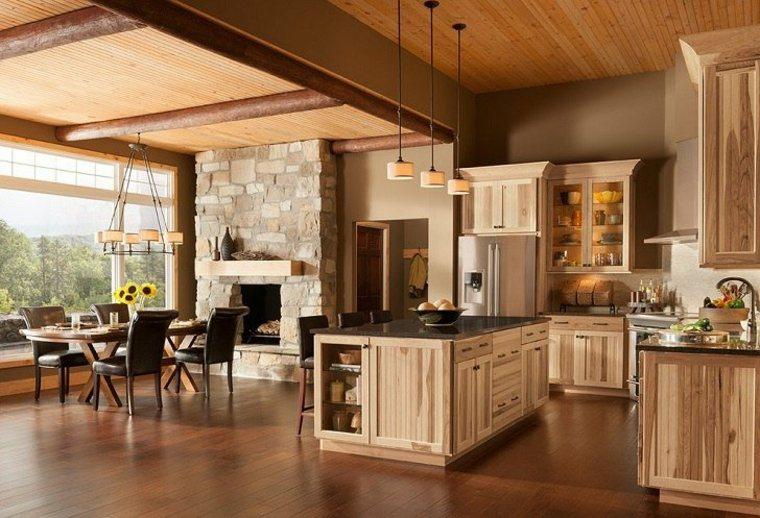 espacios plano abierto cocina muebles madera ideas