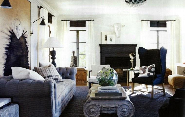 estilo bohemio decoracion interiores azul oscuro ideas