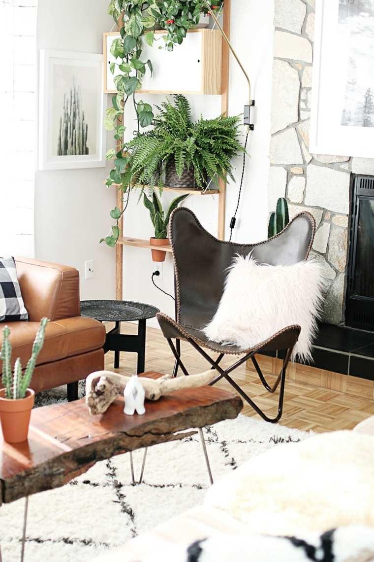 estilo bohemio decoracion interiores mesita madera ideas