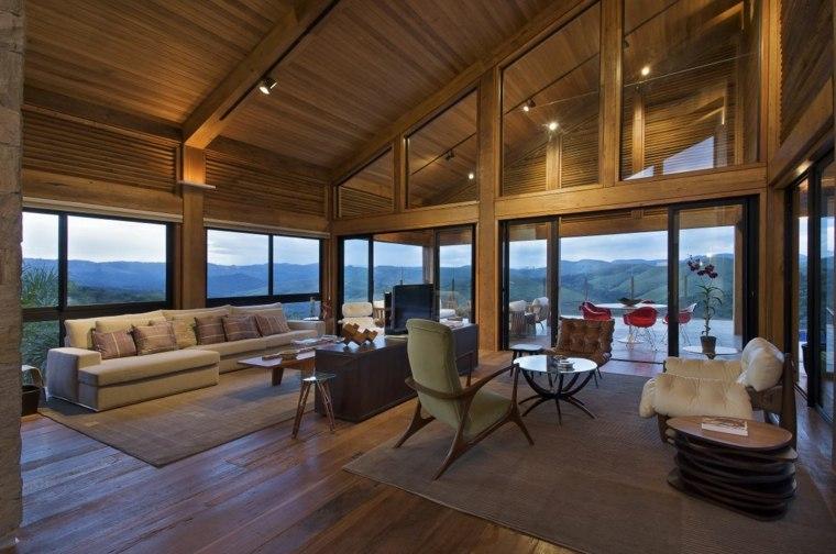 Acentos de madera para interiores modernos - Salon rustico moderno ...