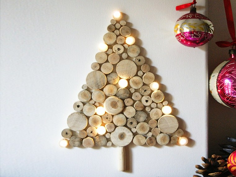 estupendo abeto navideño rodajas madera