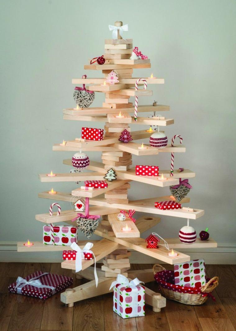 Rboles de navidad caseros 42 ideas con madera r stica - Madera para decoracion ...