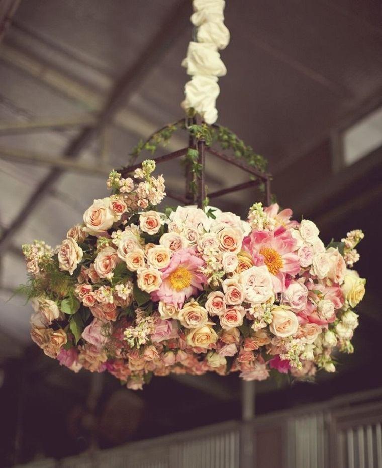 flores colgando techo boda decoracion vintage ideas