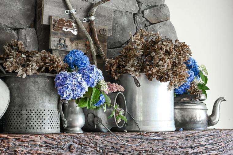 flores secas para decorar chimenea