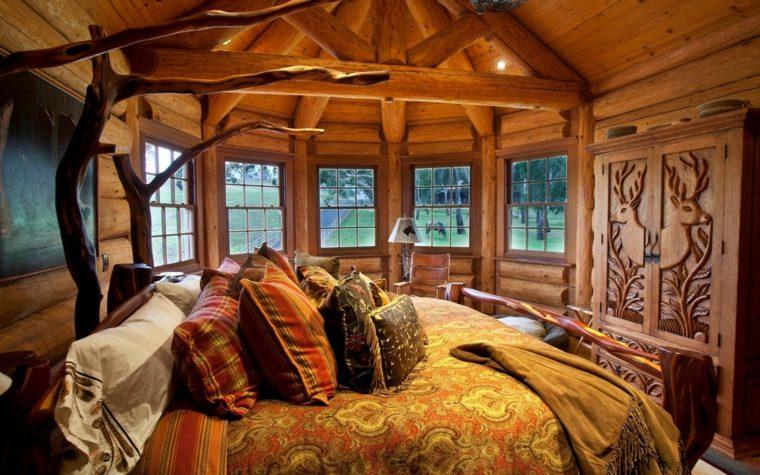 habitacion de madera estilo rustico