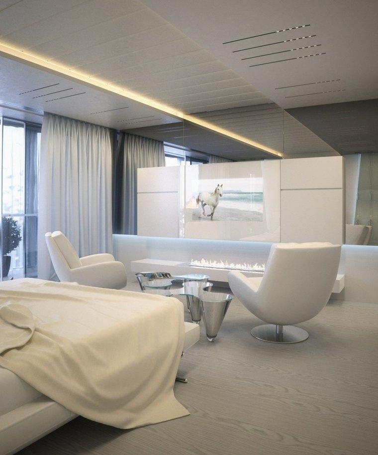 habitacion moderna de color blanco