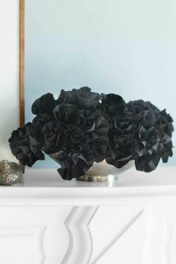 halloween decoracion diy papel negro ramo
