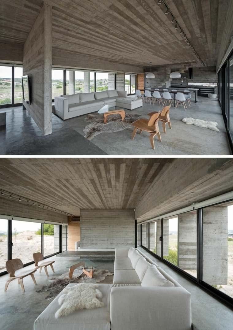 hormigon pulido suelo casa diseno salon moderno ideas