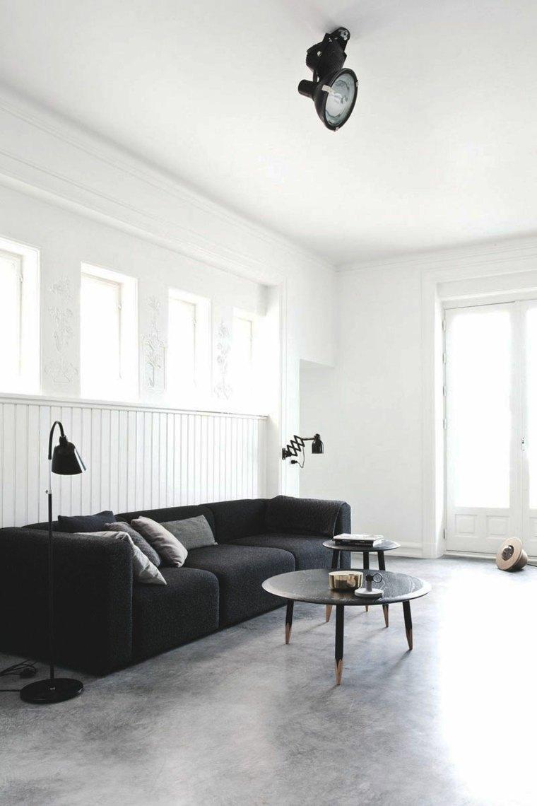 hormigon pulido suelo casa diseno sofa negra ideas