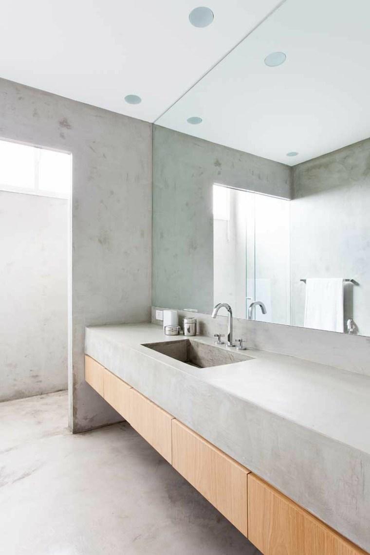 hormigon pulido suelo lavabo bano casa diseno ideas