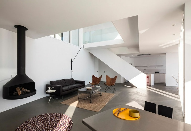 hormigon pulido suelo pared casa diseno salon amplio ideas