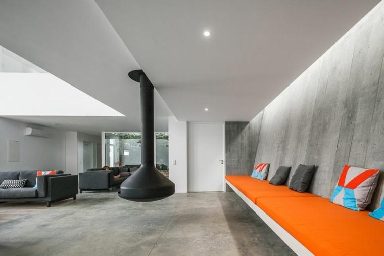 hormigon pulido suelo pared casa diseno salon ideas