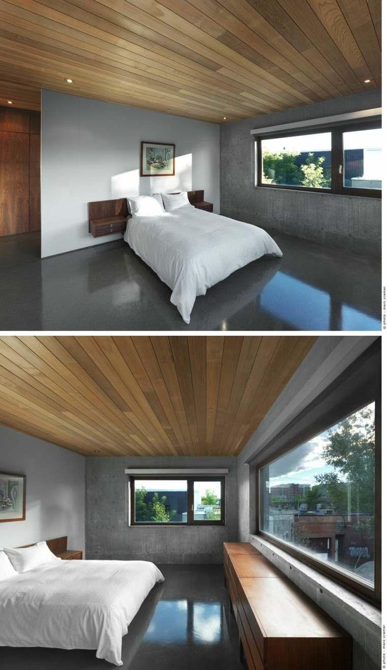 hormigon suelo techo madera dormitorio ideas