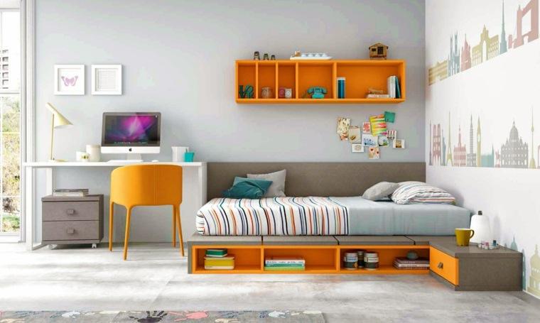 ideas para decorar habitacion infantil pared toques naranja ideas