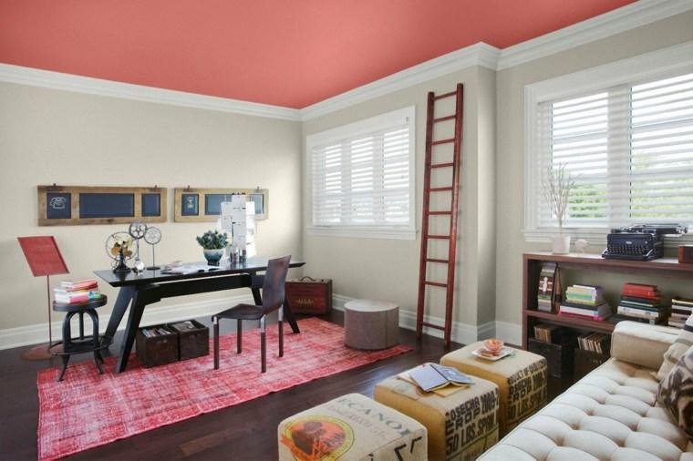 ideas para decorar techo diseno colorido rosa moderno