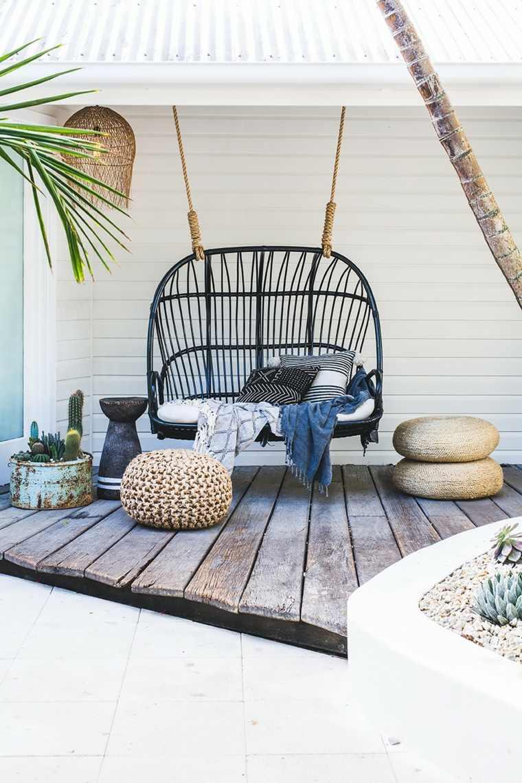 ideas para decorar terraza columpio negro moderno