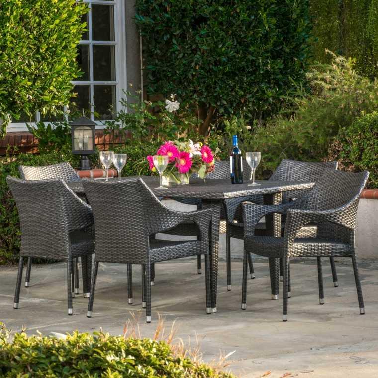 ideas para decorar terraza muebles comedor negros estilo moderno