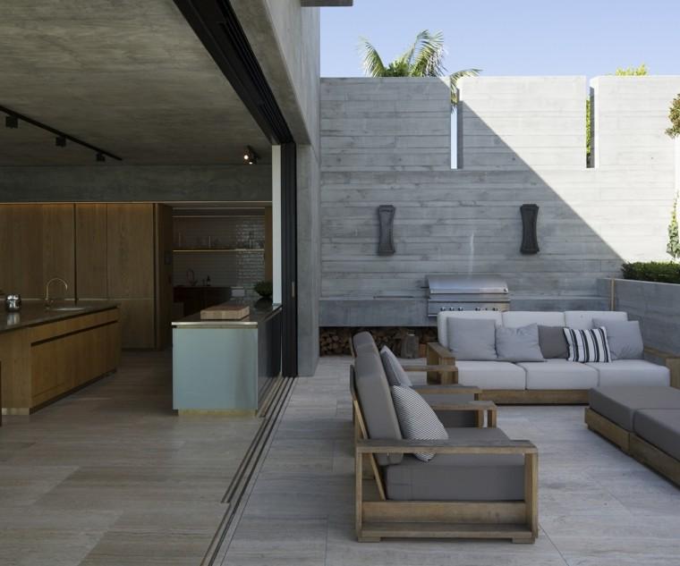 ideas para decorar terraza muebles madera cojines gris estilo moderno