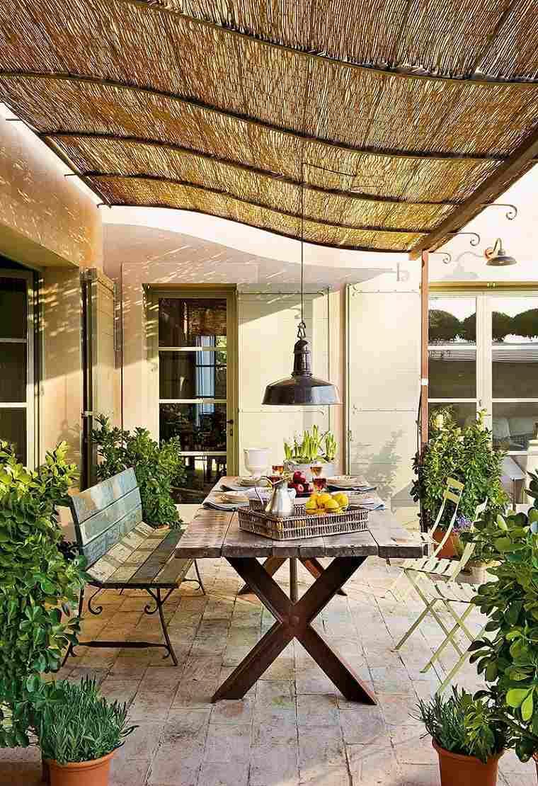 ideas para decorar terraza muebles mesa madera moderno