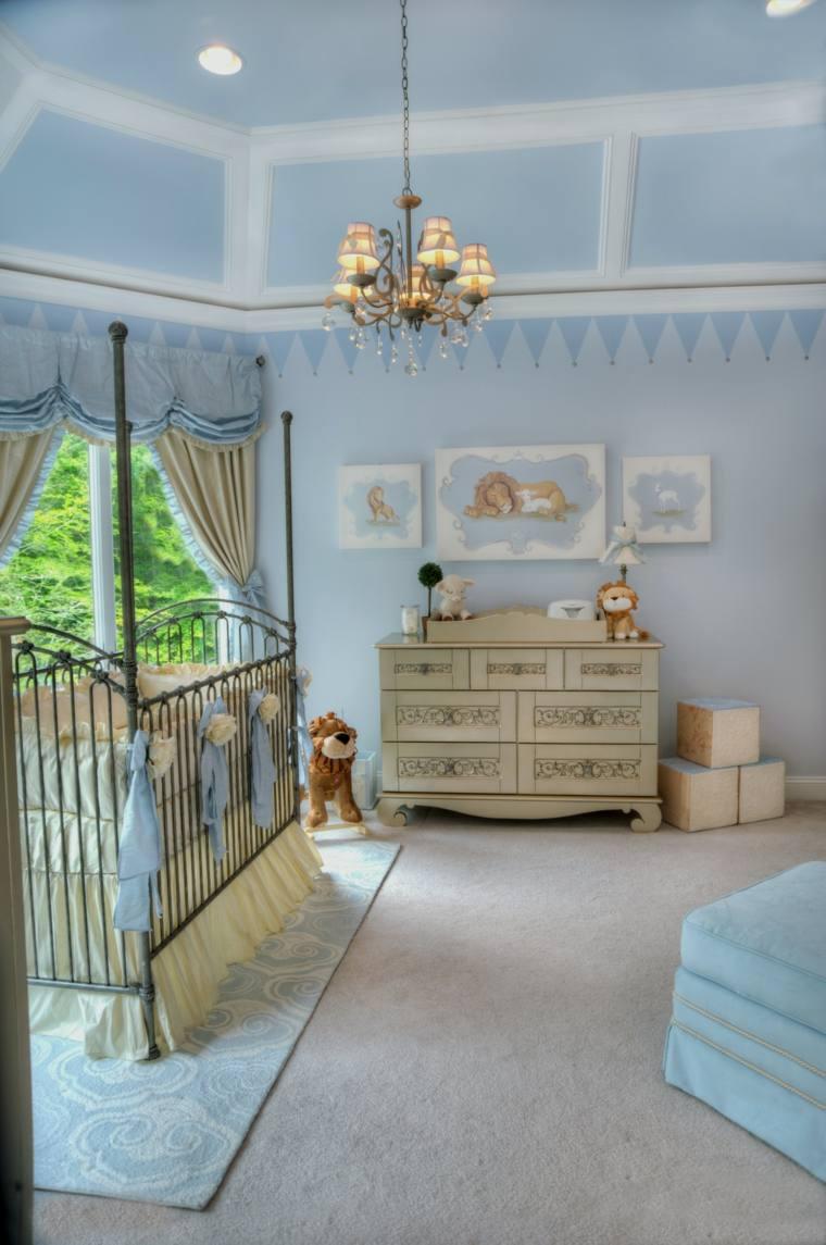 ideas para habitacion de bebe azul nino moderno