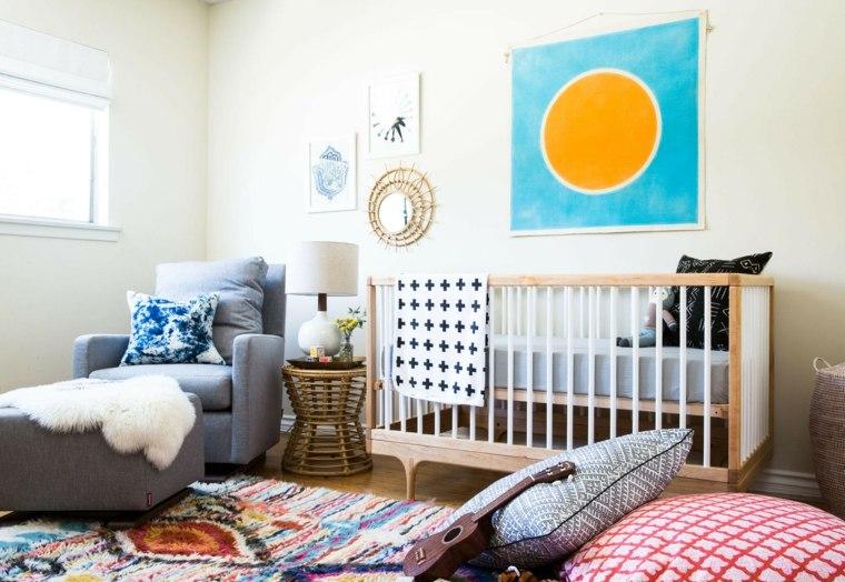 ideas para habitacion de bebe cama madera moderno