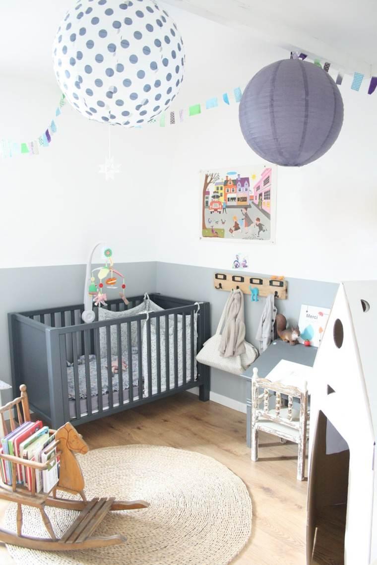 ideas para habitacion de bebe cuna gris moderno