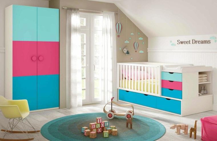 ideas para habitacion de bebe espacios coloridos moderno