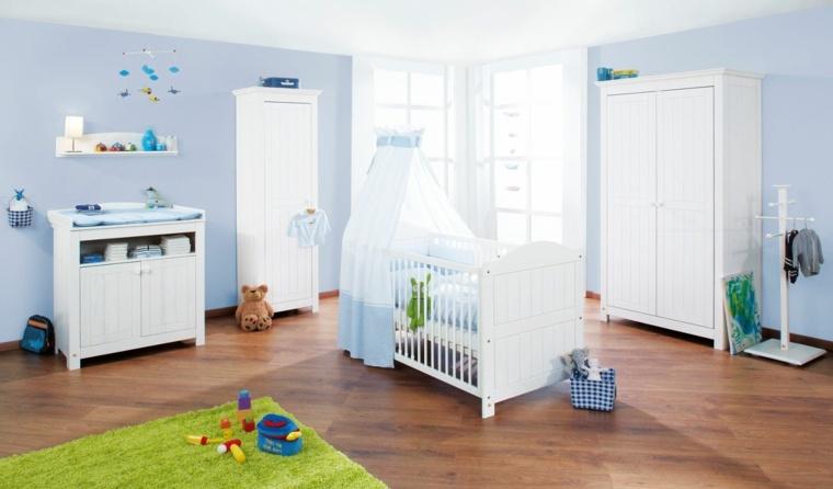 ideas para habitacion de bebe muebles blancos moderno