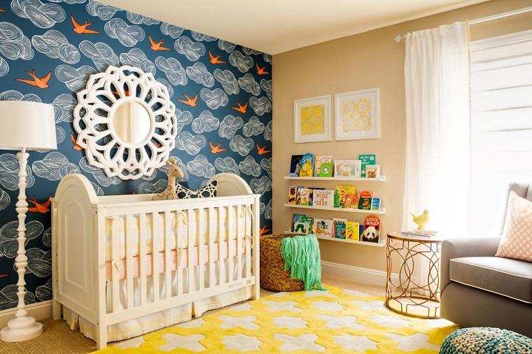 ideas para habitacion de bebe papel pared alfombra colores moderno