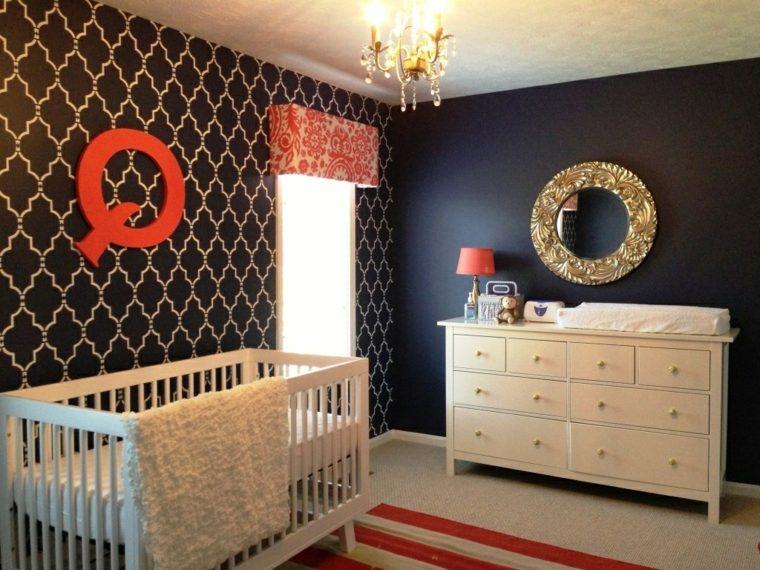 habitacion de bebe paredes negras original diseno