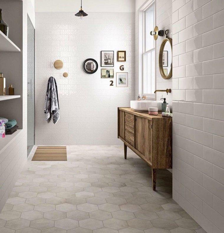 Baños Ideas Para Reformar:Ideas de baños con losas blancas clásicas en las paredes