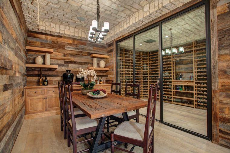 interior moderno comedor madera rústica