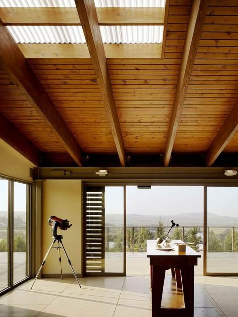 interior estilo moderno techo madera